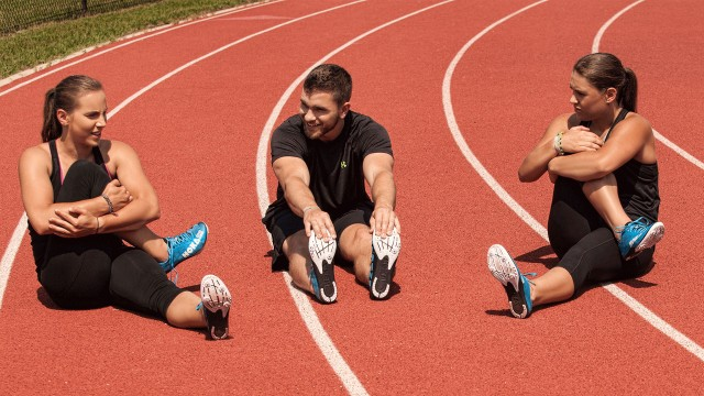 Athlete sitting on Beynon Sports track